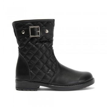 Μαύρο δερμάτινο μποτάκι Aby Shoes ABY 773