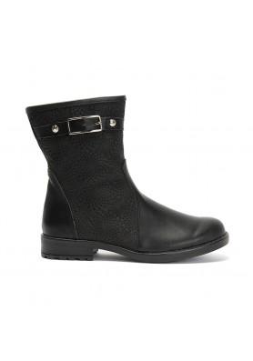 Μαύρο δερμάτινο μποτάκι Aby Shoes ABY 776