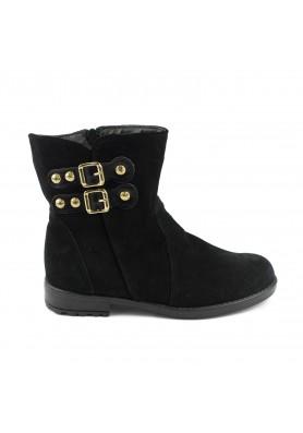 Μαύρο suede μποτάκι Aby Shoes Aby770