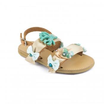Μπεζ δερμάτινο πέδιλο Fun shoes 063