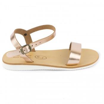 Δερμάτινα χρυσά σανδάλια Fun shoes 089