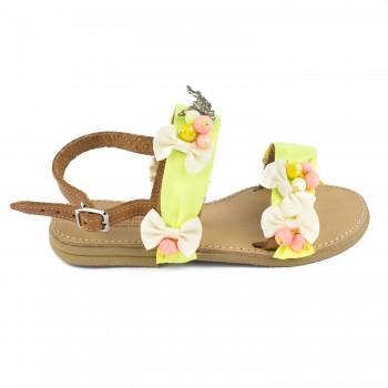 Κίτρινο δερμάτινο πέδιλο Fun shoes 062